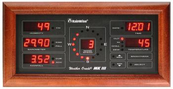 The Oracle multi-display receives the weather instrument data via radio signal and displays every measured or calculated parameter, including a wind direction indicator.